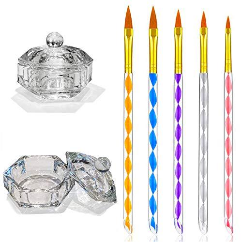 EBANKU 5 PCS Nagellack Pinsel Set UV-Gel Pinselset Gel & Acryl Nägel Pinsel mit 2pcs Glas Dappen Dish mit Deckel für Nail Art Design Malerei Detaillierung