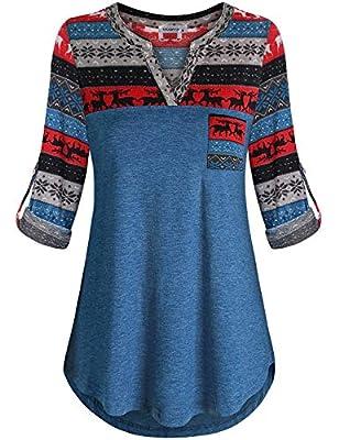 MOQIVGI Womens Roll Up Long Sleeve V Neck Patchwork Blouse Shirt Tops