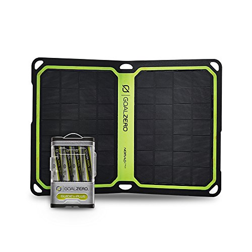 Goal Zero Guide 10 Plus Solar Recharging Kit with Nomad 7 Plus Solar Panel, 2300mAh Power Bank, AA & AAA Battery Recharger with 7 Watt Foldable Monocrystalline Solar Panel