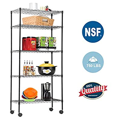 "BestOffice Storage Shelves Heavy Duty Shelving 5 Tier Layer Wire Shelving Unit with Wheels Metal Wire Shelf Standing Garage Shelves Storage Rack,Adjustable NSF Certified 14""x30""x60"" (Black)"