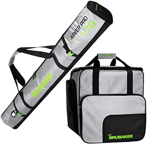 Brubaker Kombi Set CarverTec Pro - Skisack und Skischuhtasche für 1 Paar Ski + Stöcke + Schuhe + Helm - Silber Grün - 170 cm