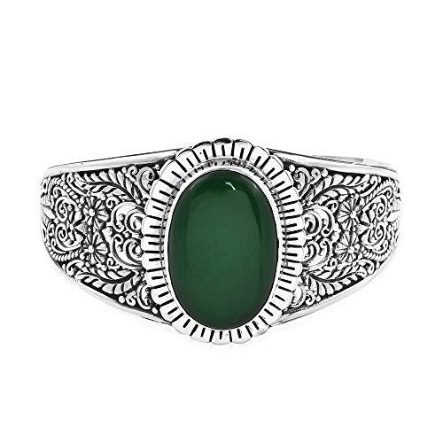 Royal Bali Handmade 925 Sterling Silver Cuff Bangle for Women Green Jade Size 7.5', 37.982 Ct