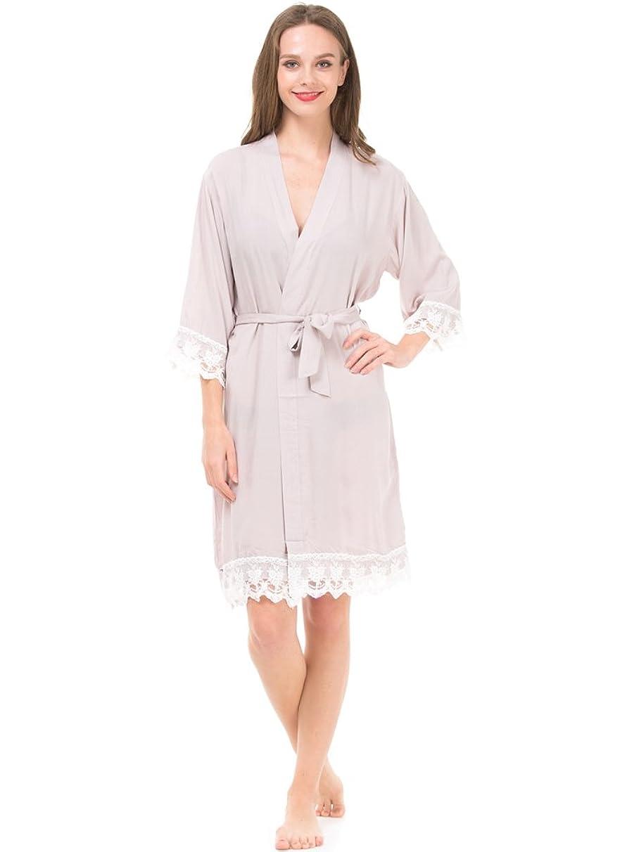 Mr & Mrs Right Women's Cotton Kimono Robe for Bride and Bridesmaid with Lace Trim