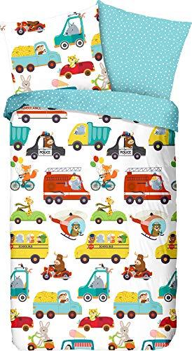 Good Morning! Children's Reversible Bed Linen Renforcé Multi-Coloured Size 135 x 200 cm (80 x 80 cm)