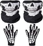 Faburo 2X Schädel Gesichtsmaske mit 1x Skelett Handschuhe Weiße Skelett Handschuhe Set für...