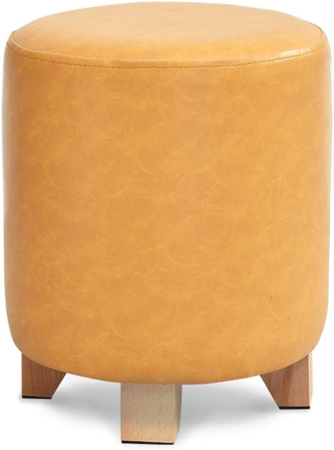WSJTT Footrest Stool PU Leather Small Chair Seat Couch,Solid Wood Sofa Stool,Leather Stool,Creative shoes Bench,Multi-Functional Stool (color   D)