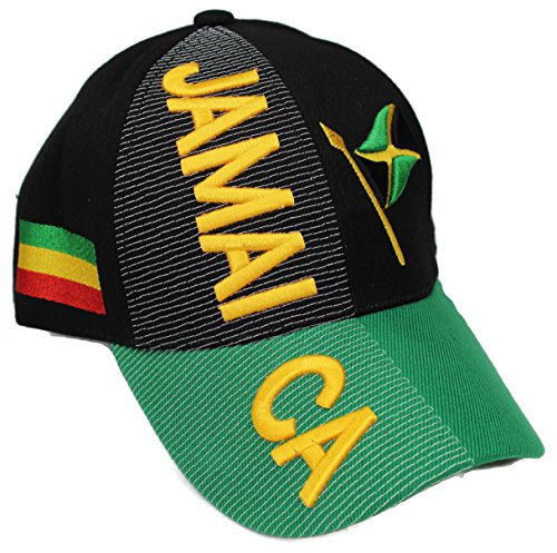 """High End Hats """"Nations of North America Hat Collection"""" Embroidered Adjustable Baseball Cap, Jamaica with Flag and Pan-Africa Flag, Black"""