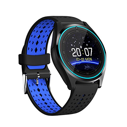 Bluetooth Smartwatch Tondo,Orologio da Polso Intelligente con SIM/TF Card Slot Fotocamera,Pedometro,Touch Screen,Fitness Notifiche Chiamate/SMS/Whatsapp Per Android iPhone Huawei Samsung ecc,V9 Blu