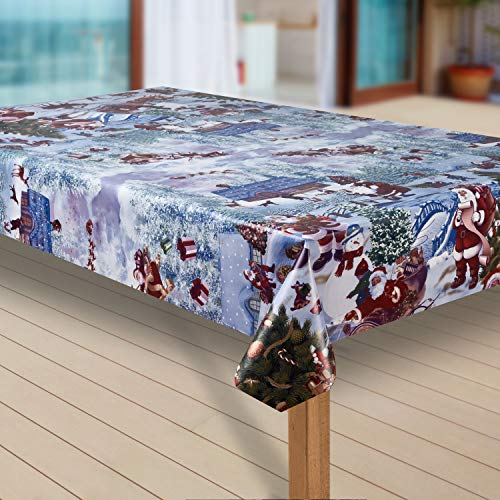 laro Wachstuch-Tischdecke Weihnachtsmann Weihnachten Weihnachts-Motive PVC Wachstischdecke Eckig Meterware Wasserabweisend Abwischbar GAO, Muster:Weihnachtsmann blau, Größe:130x160 cm
