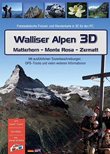 Walliser Alpen 3D (Matterhorn - Monte Rosa - Zermatt). Für Windows Vista / XP: Fotorealistische Wander- und Mountainbikekarte in 3D für den PC. Tourenbeschreibungen - Hütten - Orte - Berggipfel - Seen und vieles mehr