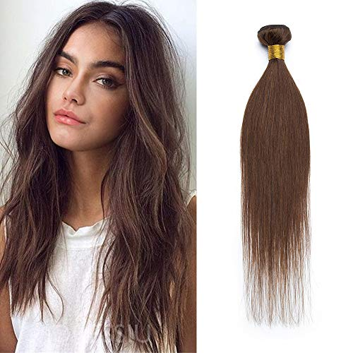 20cm - Extensiones Cortina de Pelo Natural Human Virgin Hair Brasileña #Marrón medio 100g Cabello Humano Remy Liso Hair Bundle