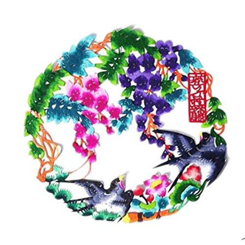 Black Temptation 4PCS Chinese Traditional Art Paper Cut Décor Collection colorée Souvenir-A12