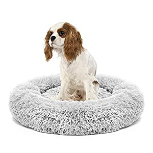 Round Dog Bed Cat Bed, Soft Plush Surface Donut-Shaped Dog Sofa Cushion, Washable Ultra Soft Calming Bed Pet Kennel, Self Warming Indoor Sleeping Bed for Small Medium Dogs