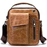 Man Purses and Bags Small, Genuine Leather Little Crossbody Shoulder Bag for Travel Everyday Carry Yellow Brown