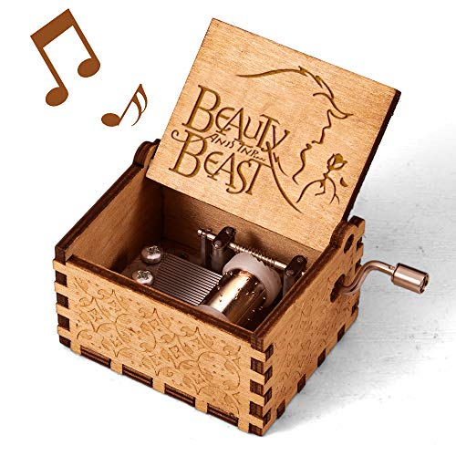 mrwinder Beauty and The Beast Music Box, Vintage Classic Wood Hand Crank Carved Best Gift for Kids,...