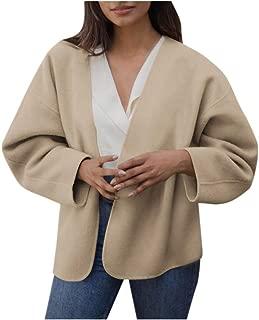 Fitfulvan Women's Solid Long Sleeve Tops Casual Elegant Cardigan Coat Outercoat