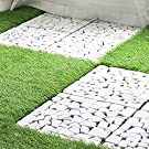 iimono117 ガーデン タイル ジョイントタイル 石畳風 30㎝×30㎝ (10枚セット) 置くだけ 簡単設置 水洗い可 乾きやすい 屋外 ベランダ バルコニー 玄関 庭 ガーデニング