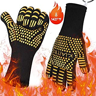 Kiaitre Grill Gloves 1472°F Extreme Heat Resistant - Flexible Oven Gloves 12.5