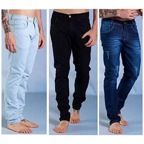 Kit 3 Calças Jeans Masculina Sandro Clothing Azul Claro + Preta e Azul Escuro (40)