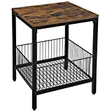 VASAGLE DAINTREE Sofa Side Table, End Table, Nightstand, with Wire Basket, Simple Structure, Stable, for Living Room, Industrial Style, Rustic Brown and Black ULET35BX