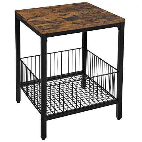 VASAGLE Beistelltisch,Nachttisch, Kleiner Sofatisch mit Gitterkorb, Plattenregal, Wohnzimmer,einfacher Aufbau, stabil, Industriestil, vintagebraun-schwarz LET35BX