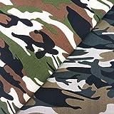 ZAIONE The Yard Baumwollstoff, Camouflage, 1,8 m, Grün und
