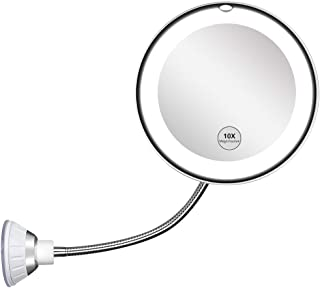 10X magnifying glass with light, 10X magnifying mirror with light, powerful suction cup with light, 360° rotating flexible...