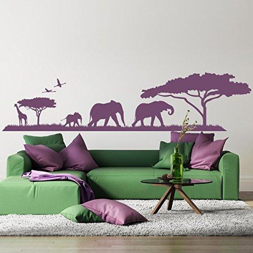 denoda Afrika Savanne und Safari - Wandtattoo Schwarz 107 x 25 cm (Wandsticker Wanddekoration Wohndeko Wohnzimmer...