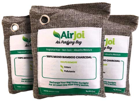 AIRJOI Bamboo Charcoal Air Purifying Bag (3-Pack), Activated Charcoal Odor Absorber, Natural Air Freshener Removes Odor and Moisture, Odor Eliminator for Car, Closet, Bathroom, Pets, Shoes
