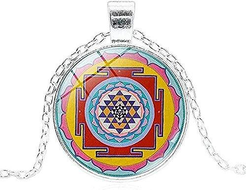 ZJJLWL Co.,ltd Collar Hombres S Collar Chakra Espiritual Budista Colgante Collar geometría Sagrada S joyería meditación Collar Hombres Mujeres