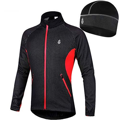 RJHY Bike-Jacke Herbst und Winter Mountain Bike Jacke Windjacke Reitsakko Reitanzug Warm-Hut/Wasserdicht/Reflektor-Streifen,Rot,XXXL