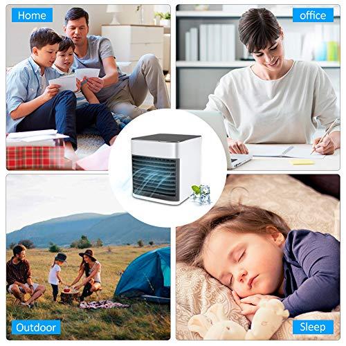 Mini Persönliche Klimaanlage, Mobile Klimageräte, 4 in 1 Luftkühler, Ventilator, Luftbefeuchter, Lufterfrischer mit 3 Geschwindigkeiten 7 Farben LED Air Cooler für Schlafzimmer Wohnzimmer Büro Reise