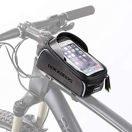 HSNMEY - Funda de Tubo para Bicicleta, Resistente al Agua, con Orificios Ocultos para los Auriculares y Marco Frontal Reflectante para teléfono móvil de 6 Pulgadas
