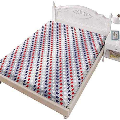 SoSung Twin Size Fitted Sheet 3D Printed with USA Big American,Big Star Figures with American Flag Featured Inner Lines,Bed Cover with All-Round Elastic Deep Pocket for Comfort