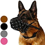 CollarDirect Dog Muzzle German Shepherd Dalmatian Doberman Setter Leather Basket Medium Large Breeds Black...