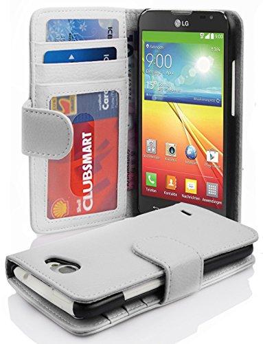 Cadorabo Hülle für LG L90 - Hülle in Magnesium WEIß – Handyhülle mit 3 Kartenfächern - Case Cover Schutzhülle Etui Tasche Book Klapp Style