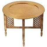Mesa de centro redonda marroquí Hania Ø 60 cm redonda   Mesa de salón oriental con estructura plegable vintage de madera en marrón   La bandeja es de aluminio en color dorado