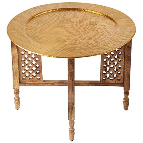 Marokkanischer Runder Tisch Couchtisch Hania ø 60cm rund | Orientalischer Wohnzimmertisch mit klappbaren Vintage Gestell aus Holz in Braun | Das Tablett Dieser Klapptisch ist aus Aluminium in Gold