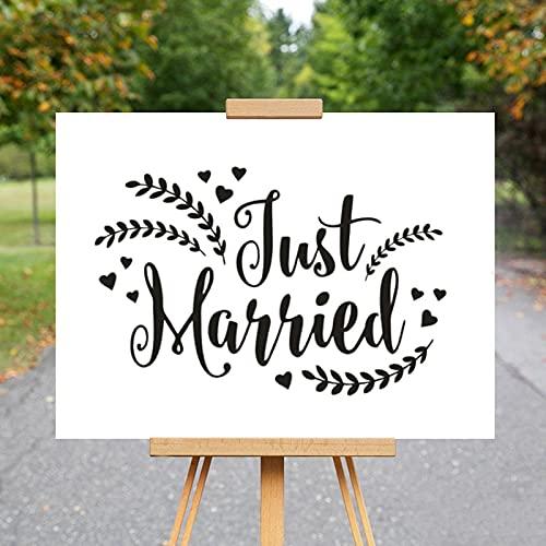Recién casados vinilo pared calcomanía boda coche ventana pegatina diseño rústico con...
