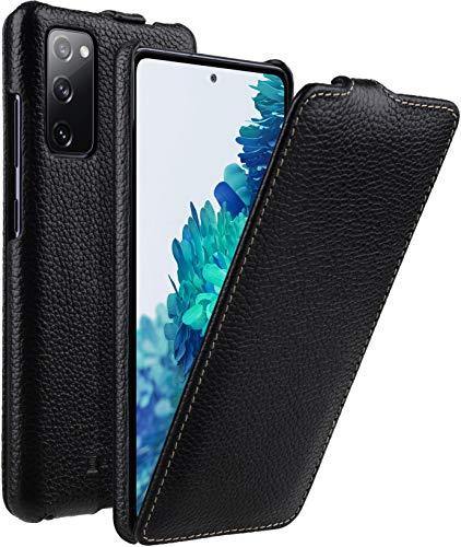 StilGut UltraSlim kompatibel mit Samsung Galaxy S20 FE Hülle - Samsung S20 FE Flip Hülle aus Leder, Klapphülle, Handyhülle, Lederhülle - Schwarz