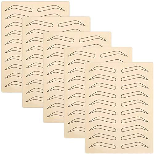Enenes 5 Stücke Augenbrauen Tattoo Praxis Haut Microblading Permanent Make-up Silikonhaut für kosmetische Tätowierung Anfänger (Schwarz)