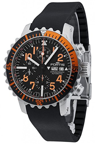 Fortis B-42 Marinemaster Day/Date Automatic Chronograph Steel Orange Mens Watch 671.19.49 K