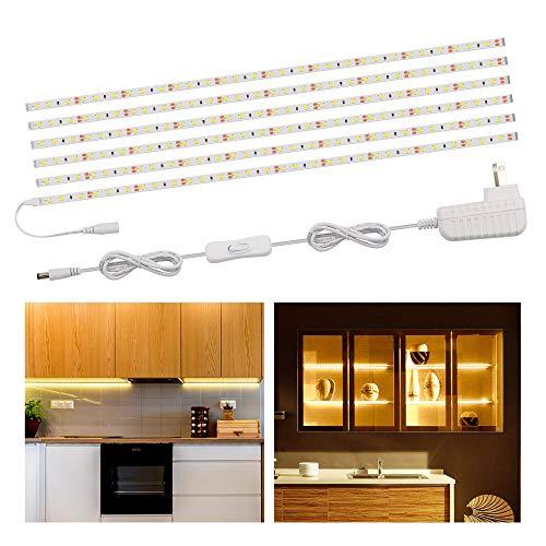 Speclux Flexible LED Strip Lights Bar, LED Under Cabinet Lighting Kits, 9.84ft Under Counter Strip Light for Kitchen, Cupboard, Desk, Monitor, Counter, LED Tape Light Set, 1200lm,3000K Warm White