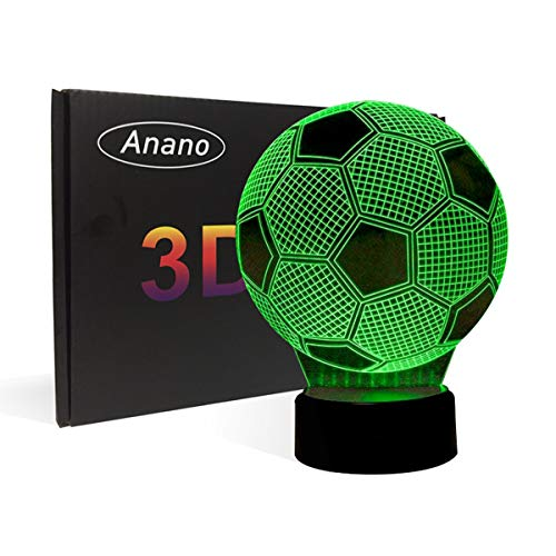 3D Illusion Football Lights Lamp,Soccer LED Table Desk Decor 7 Colors Touch Control USB Powered Party Decoration Lamp,3D Visual Lamp for Home Décor Xmas Birthday Gifts