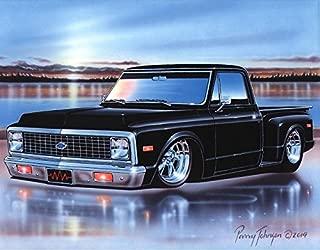 1971 72 Chevy C10 Stepside Pickup Classic Truck Art Print Black 11x14 Poster