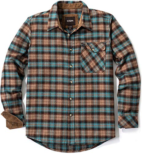 CQR Men's All Cotton Flannel Shirt, Long Sleeve Casual Button Up Plaid Shirt, Brushed Soft Outdoor Shirts, Corduroy Lined Coastal Blue, Large