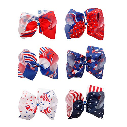 Oaoleer 8In USA Hair Bows Girls Grosgrain Ribbon Boutique Big Ponytail Hair Bow Clips For Teens Kids Toddlers Pack of 6 (USA Hair Bows Mix)