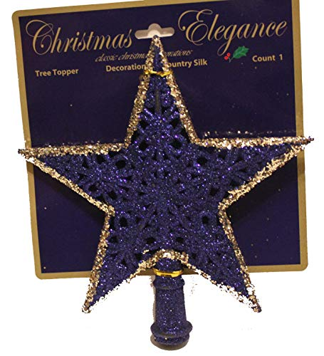 Country Silk Blue Gold Theme 8.3' H Glittered Frosted Finish Star Tree Topper Christmas Tree Decoration (Dark Blue)