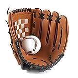 1pc Deportes Béisbol Y Softbol Guante Profesional De Béisbol Y Softball Mitt con Soft PU Sólida Engrosamiento De Piel Jarra para Niños Y Adultos (Brown, 9.5inch)
