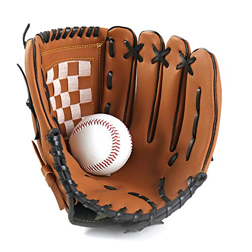 1PC Sport Baseball und Softball Handschuh Profi-Baseball und Softball-Handschuh mit weichem PU-Leder Solide Eindickung Pitcher für Kinder & Erwachsene (Brown, 9,5 inch)